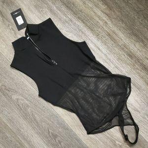 Fashion Nova Tops - Black Opaque Sheer Bodysuit